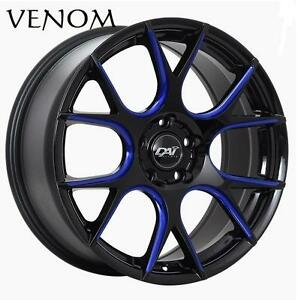 "DAI VENOM Aftermarket Wheel Rim 5x114.3 5 LUG Black Fits most 5 lug cars 17"" 18"" Black Blue Red"