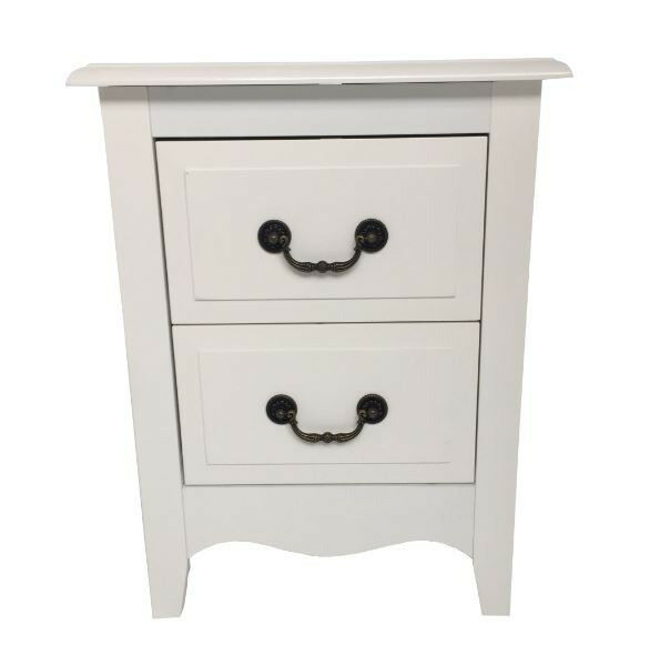 White French 2 Drawer Bedside Unit - With Antique Brass Handles Collection Harrow