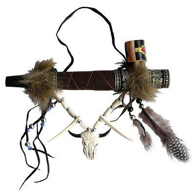 Indianer Friedenspfeife rauchbar Leder Fell Federn 03Bü