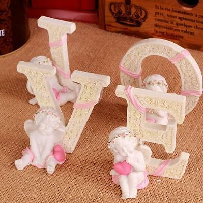 Pink Beige Angel Love Heart Home Table Desk Decor Figurine Ornament Statue Gift