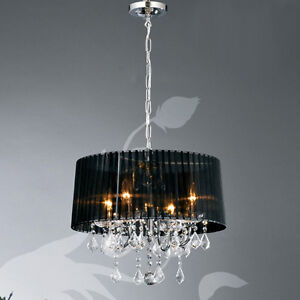 New Glass Crystal 4 40w Lamps Chandelier Fabric Shade 4 Colors Ceiling Lights