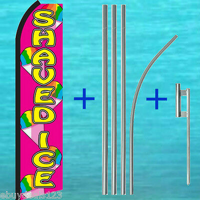 Shaved Ice Swooper Flag 15 Tall Pole Mount Kit Flutter Feather Banner Sign
