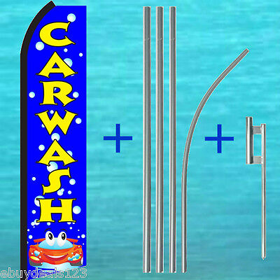 Car Wash Blue Bubbles Flutter Feather Flag Pole Kit Swooper Bow Banner Sign