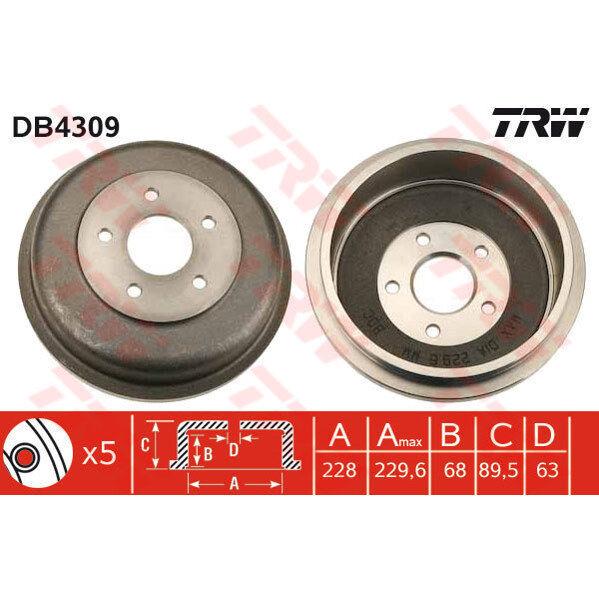Bremstrommel, 1 Stück TRW DB4309