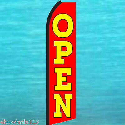 Open Red Swooper Flag Tall Flutter Feather Advertising Sign Banner 25-1431