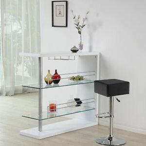 Home Bar Table :: Stylish Modern High Gloss WHITE Bar With Glass Shelf Storage