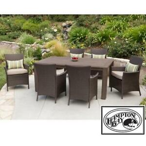 NEW* TACANA 7 PC WICKER DINING SET FRS50421HP-ST 188391276 HAMPTON BAY ESPRESSO BEIGE CUSHIONS TABLE TABLES CHAIR CHA...