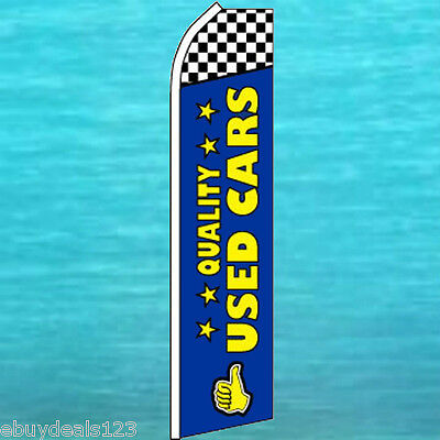 QUALITY USED CARS FEATHER FLUTTER FLAG Dealer Swooper Advertising Sign Banner