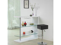 Brand new flat packed bar table, high white gloss and glass shelves
