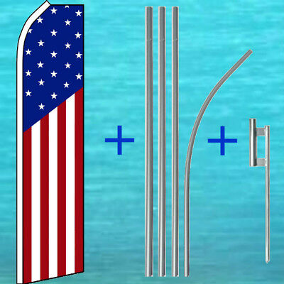 Usa American Stars Stripes Flutter Flag Pole Mount Kit Feather Swooper Banner