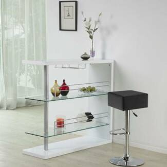 [BRAND NEW] Lumiere High Gloss Bar Table - White & Glass Shelves Dandenong Greater Dandenong Preview