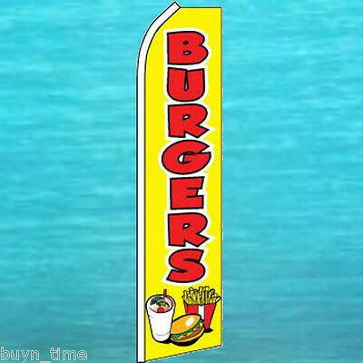 Burgers Yellow Flutter Flag Tall Food Advertising Feather Swooper Banner 1043