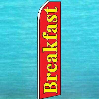 Breakfast Flutter Flag Tall Restaurant Advertising Sign Feather Swooper Banner
