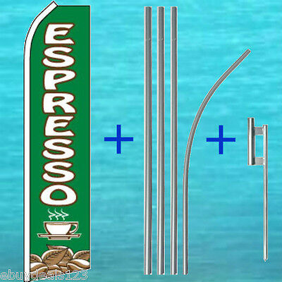 Espresso Flutter Feather Flag 15 Tall Pole Mount Swooper Bow Banner Sign