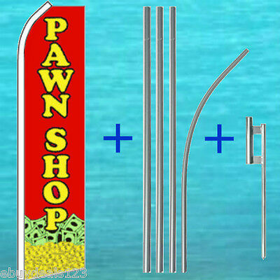 Pawn Shop Flutter Flag 15 Tall Pole Mount Kit Feather Swooper Banner Sign 1227