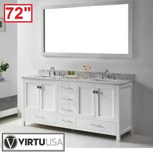 "NEW* VIRTU USA 72"" VANITY COMBO - 116860257 - CAROLINE DOUBLE VANITIES MIRROR MARBLE TOP WHITE SQUARE BASIN BATH BATH..."