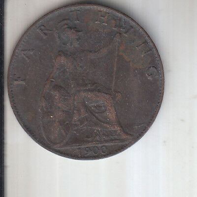 1900 Queen Victoria bronze one Farthing 1/4 penny collectible coin