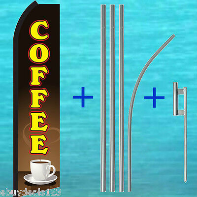 Coffee Swooper Flag 15 Pole Mount Tall Vertical Sign Flutter Feather Banner