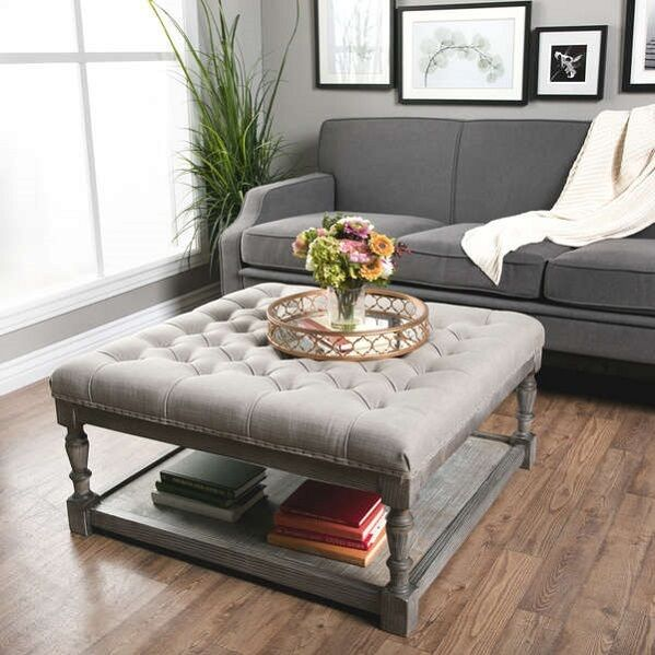 Large Gray Tufted Ottoman Square Coffee Table Wood Living Room ...