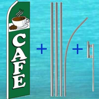Cafe Flutter Flag Pole Mount Kit Tall Curve Coffee Feather Swooper Banner Sign