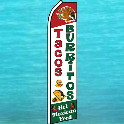 Tacos Burritos Flutter Flag Tall Curved Top Advertising Feather Swooper Banner