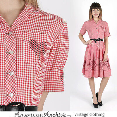 Vintage 50s Red Gingham Cocktail Dress Pinup Rockabilly Full Skirt Party Mini S