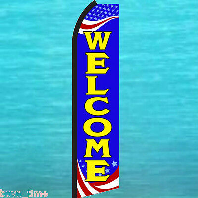 Welcome Patriotic Flutter Feather Flag Swooper Vertical Advertising Banner Sign