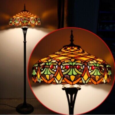 Tiffany Style Floor Lamp Handcrafted Light 18inch Stained Glass Lamps Vintage