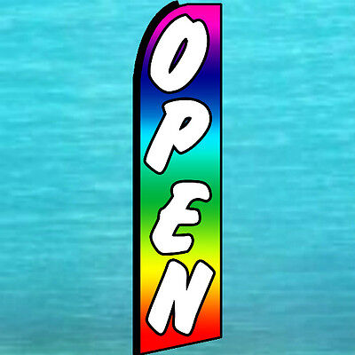 Open Rainbow Swooper Flag Extra Wide Flutter Feather Tall Advertising Sign 1718
