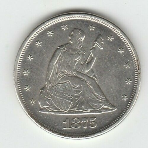 1875 Extra Fine XF Seated Liberty US Silver Twenty Cent Piece 20C