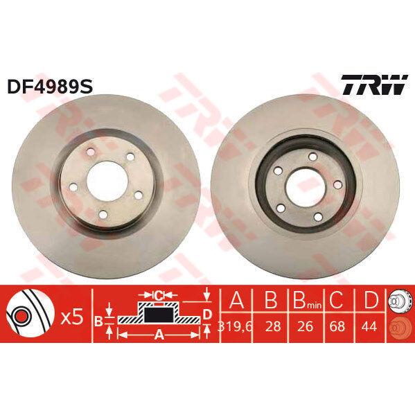 Bremsscheibe, 1 Stück TRW DF4989S