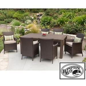 NEW* HAMPTON 7PC WICKER DINING SET   130400359   TACANA PATIO WICKER  ESPRESSO