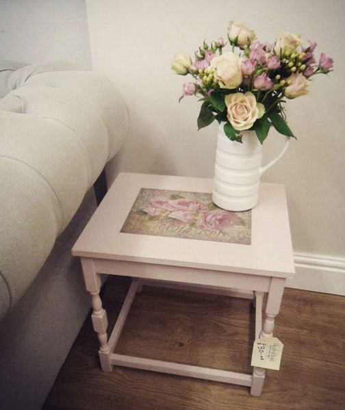 Shabby Chic Corner Coffee Table: Small Side, Coffee Or Bedside Table. Solid Wood, Painted