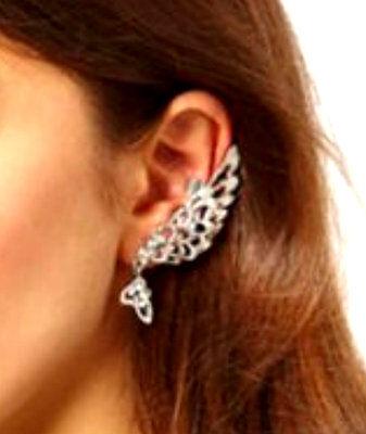 - Silver Tone Left Ear Angel Wing Clip-On Cuff Earring W/ Rhinestones/ US Seller!