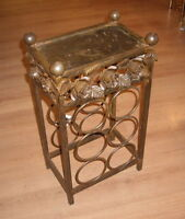 Small Metal Roses End Table Stand Wine Rack made in Canada