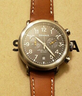 Shinola Runwell with 41mm Grey Chronograph Face & Brown Leather Band