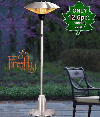 Electric Halogen Patio Heater Firefly 2.1kW Free Standing Outdoor Garden IP44