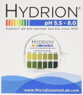 Hydrion Body Acid Ph Test Tape Strips Paper Roll 4 Urine Saliva 5.5-8.0 Mpn 067
