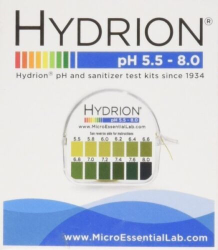 HYDRION 067 Body Acid pH TEST Tape Strip Paper Roll Urine Saliva 5.5-8.0 Micro L