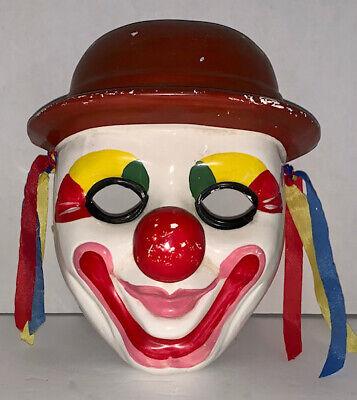 Vintage Porcelain Clown Mask Wall Hanging Taiwan Circus Big Top Carnival