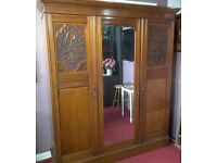SALE!! Stunning Edwardian Solid Mahogany Wardrobe With Rail, Shelves & Mirror -Can Deliver For £19