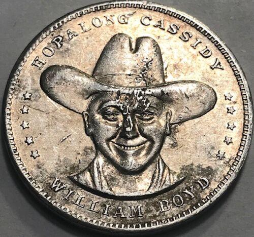 "Vintage 1-1/4"" Hopalong Cassidy ""HOPPY"" William Boyd GOOD LUCK Token Medal"