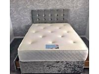 💛💛EXCELLENT QUALITY💛💛DOUBLE CRUSHED VELVET DIVAN BED BASE WITH DEEP QUILTED MATTRESS
