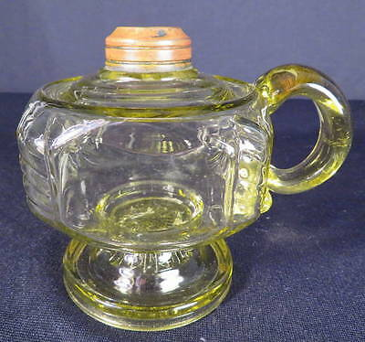 1880's Central Glass Light Yellow Kero Oil No. 1 Footed Finger Lamp
