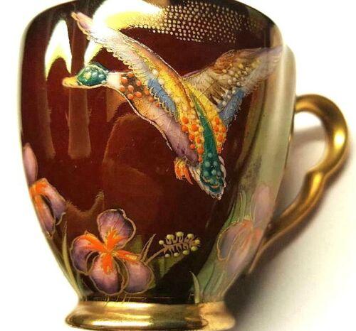 Lovely Carlton Ware Demitasse with Fabulous Flying Mallards with Irises