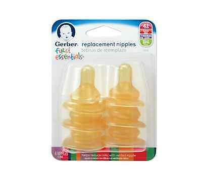 Gerber First Essentials Latex Nipples 6 ea