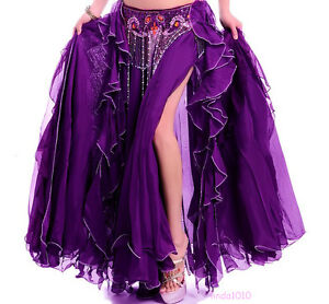 NEW-Belly-Dance-Costume-2-layers-with-slit-Skirt-12-colors