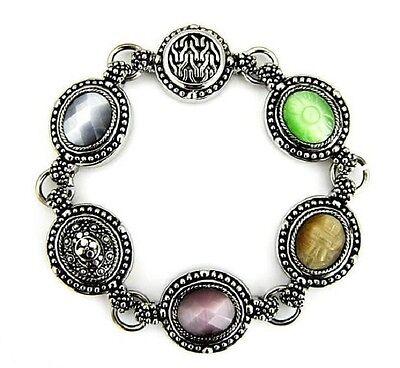 Wholesale Lot Bracelet (3) Antique Silver Cabochon Cat Eye Filigree Magnetic