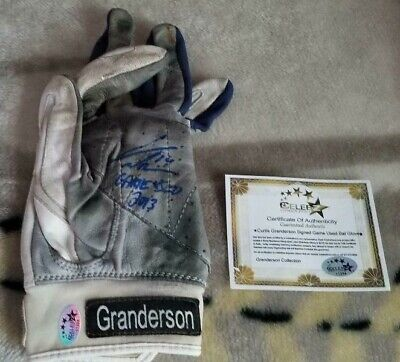 CURTIS GRANDERSON *2013 GAME USED & SIGNED* SINGLE TPX BAT GLOVE ~ NY YANKEES