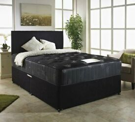 """BRAND NEW : SUPERB OFFER: 4FT OR 4FT6 DOUBLE KING DIVAN BED WITH 10"""" THICK ORTHOPEDIC MATTRESS £139"""